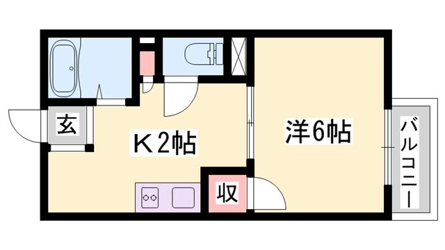 物件番号: 1119469404  姫路市北平野5丁目 1K ハイツ 間取り図