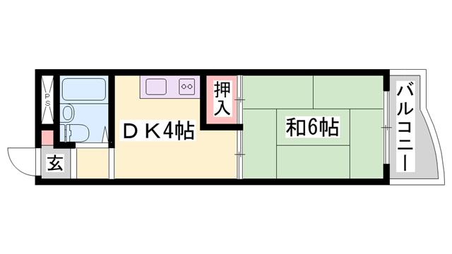 物件番号: 1119469448  姫路市東雲町4丁目 1DK マンション 間取り図