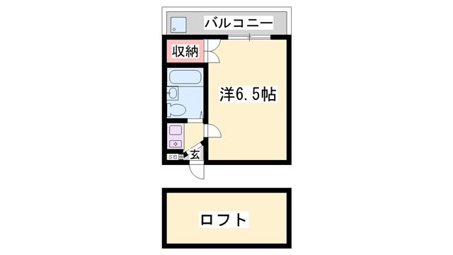 物件番号: 1119469693  加古川市平岡町二俣 1K ハイツ 間取り図
