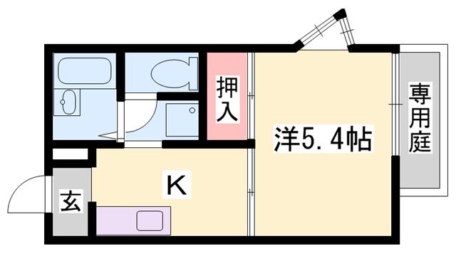 物件番号: 1119469931  姫路市書写 1K ハイツ 間取り図
