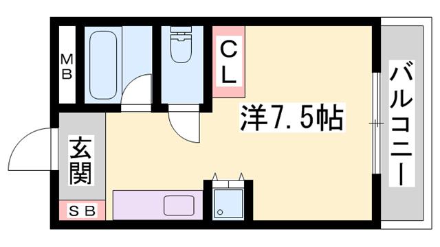 物件番号: 1119470371  姫路市御立東5丁目 1R ハイツ 間取り図