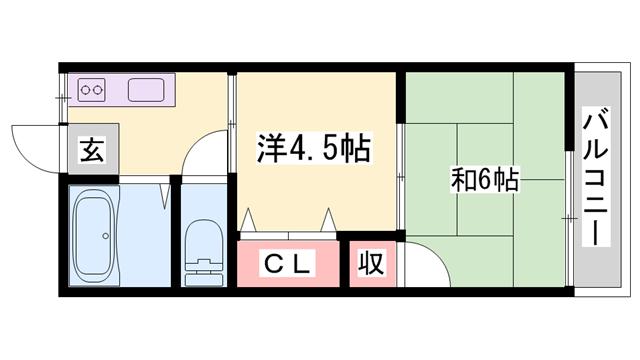 物件番号: 1119470413  姫路市田寺6丁目 2K ハイツ 間取り図
