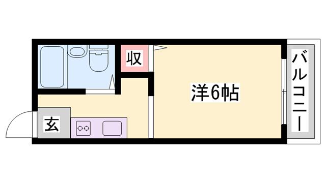 物件番号: 1119470447  姫路市御立中7丁目 1K ハイツ 間取り図