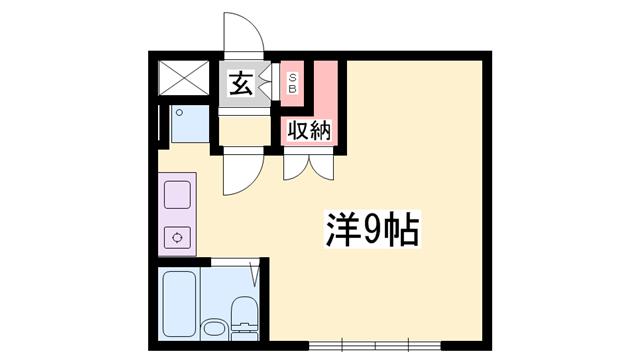 物件番号: 1119470624  姫路市伊伝居 1R マンション 間取り図