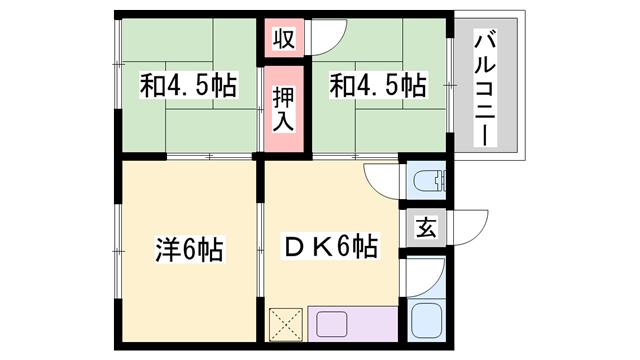 物件番号: 1119470628  姫路市広畑区西夢前台4丁目 3DK マンション 間取り図