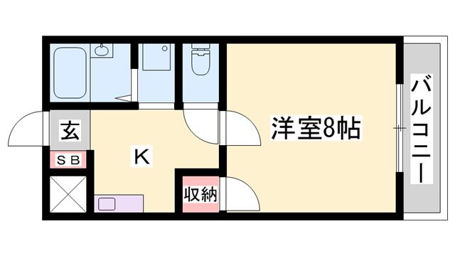 物件番号: 1119470691  姫路市書写 1K ハイツ 間取り図