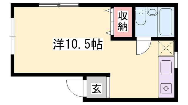 物件番号: 1119471312  姫路市伊伝居 1R マンション 間取り図