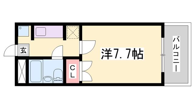 物件番号: 1119471349  姫路市御立中4丁目 1K マンション 間取り図