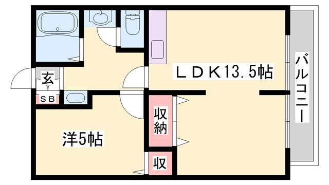 物件番号: 1119471351  姫路市御立中5丁目 1LDK ハイツ 間取り図