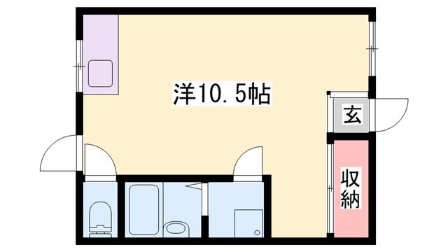 物件番号: 1119472424  姫路市辻井6丁目 1R ハイツ 間取り図