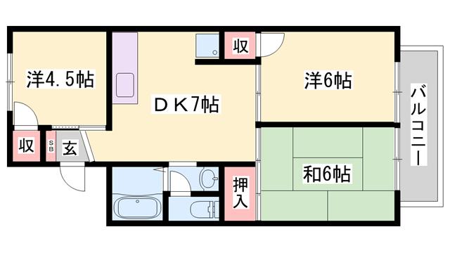 物件番号: 1119472508  姫路市網干区和久 3DK ハイツ 間取り図