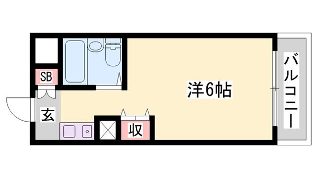 物件番号: 1119472536  姫路市北平野6丁目 1K マンション 間取り図
