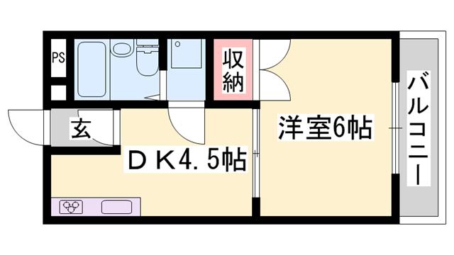 物件番号: 1119472685 サングレース東今宿  姫路市東今宿1丁目 1DK マンション 間取り図