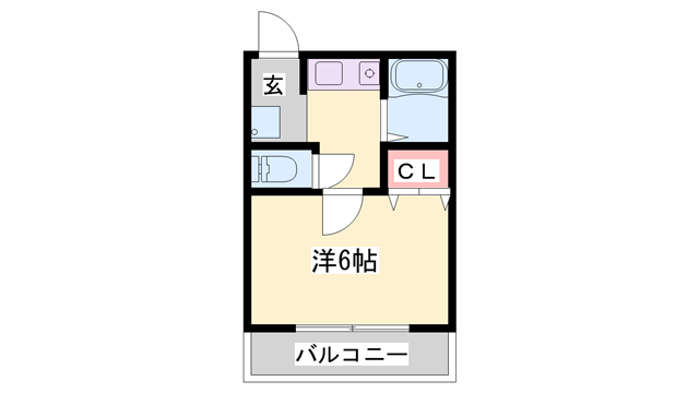 物件番号: 1119472891  姫路市飾磨区細江 1K マンション 間取り図