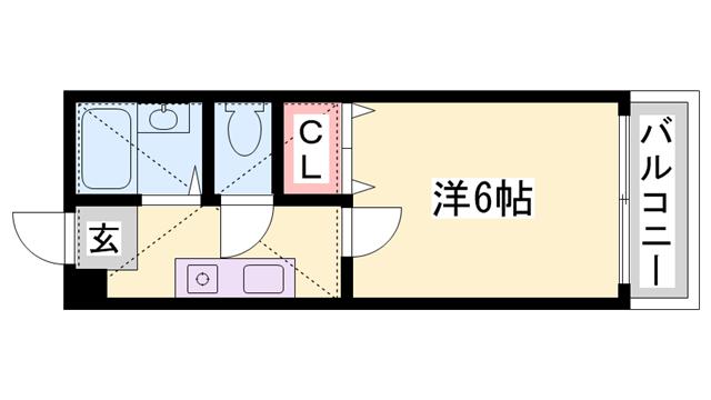 物件番号: 1119473195  姫路市書写 1K ハイツ 間取り図
