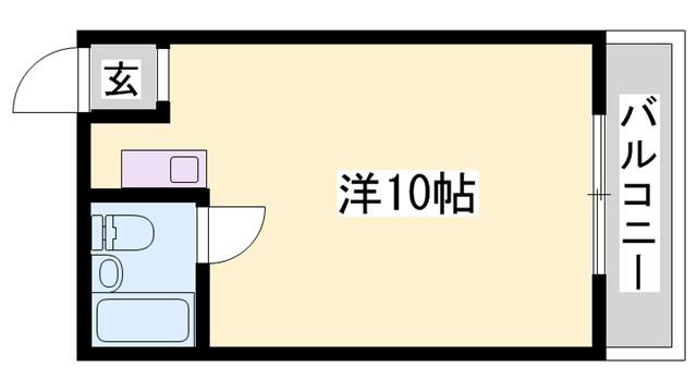 物件番号: 1119473237  姫路市山野井町 1R マンション 間取り図