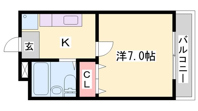 物件番号: 1119474102  姫路市白国5丁目 1K ハイツ 間取り図