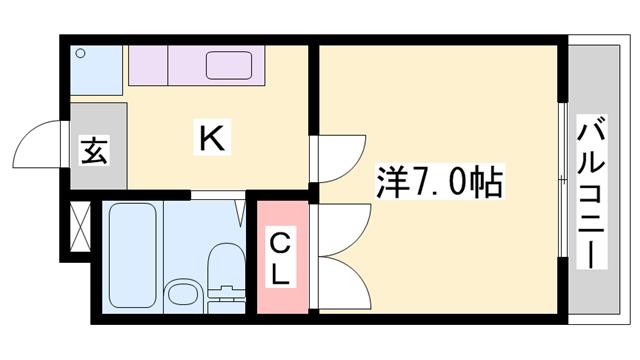 物件番号: 1119474103  姫路市白国5丁目 1K ハイツ 間取り図