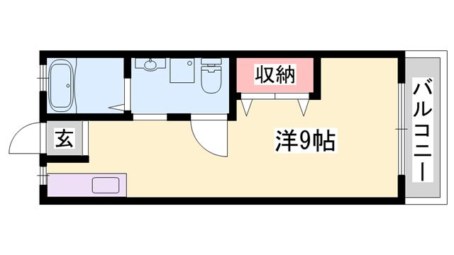物件番号: 1119474121  姫路市保城 1K アパート 間取り図