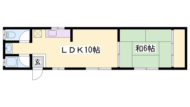 物件番号: 1119474405  姫路市飾磨区宮 1LDK ハイツ 間取り図
