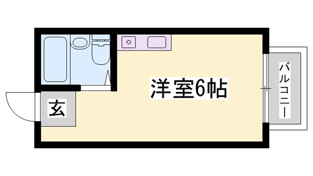物件番号: 1119474565  姫路市城北新町2丁目 1R ハイツ 間取り図