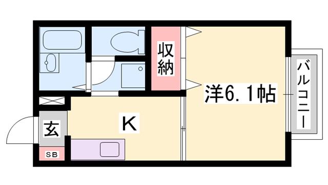 物件番号: 1119474608  姫路市書写 1K ハイツ 間取り図
