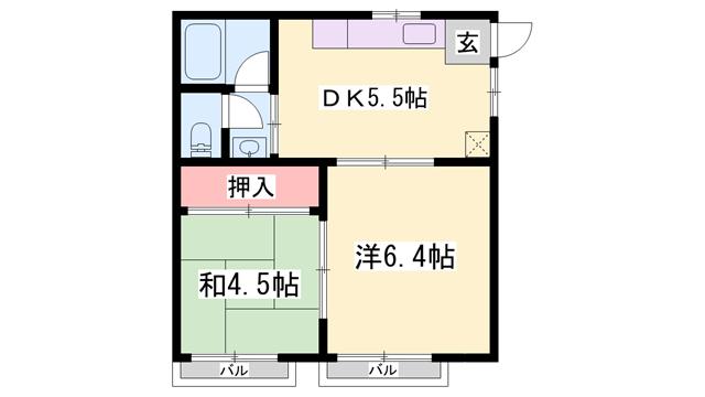 物件番号: 1119474617  姫路市飾磨区栄町 2DK ハイツ 間取り図