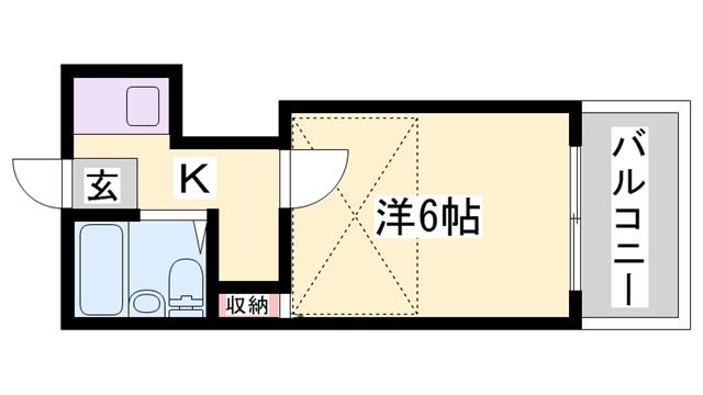 物件番号: 1119474733  姫路市西中島 1K ハイツ 間取り図