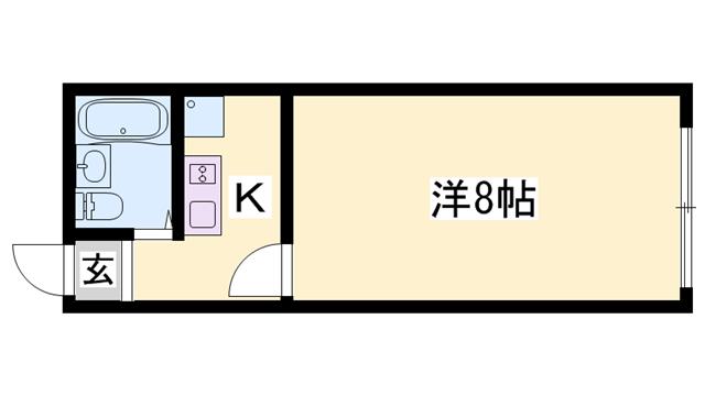 物件番号: 1119475284  姫路市呉服町 1K マンション 間取り図
