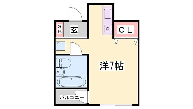 物件番号: 1119475835  姫路市北平野南の町 1R マンション 間取り図