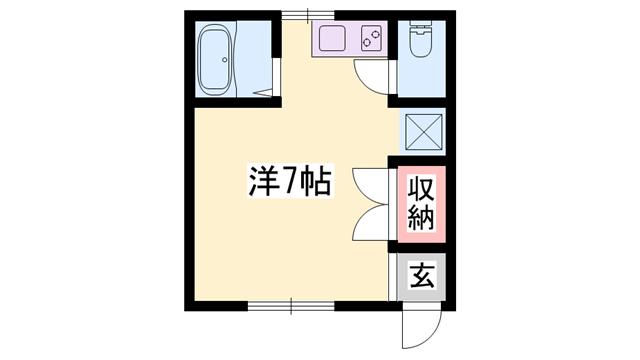 物件番号: 1119476023  三木市志染町東自由が丘 1R アパート 間取り図