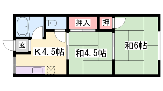 物件番号: 1119476370  姫路市白浜町 2K ハイツ 間取り図
