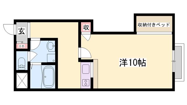 物件番号: 1119476462  姫路市白国1丁目 1K ハイツ 間取り図