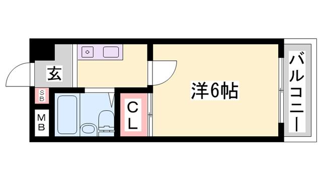 物件番号: 1119476981  姫路市北条梅原町 1K マンション 間取り図