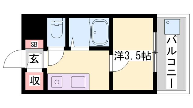 物件番号: 1119477204  姫路市田寺1丁目 1K マンション 間取り図