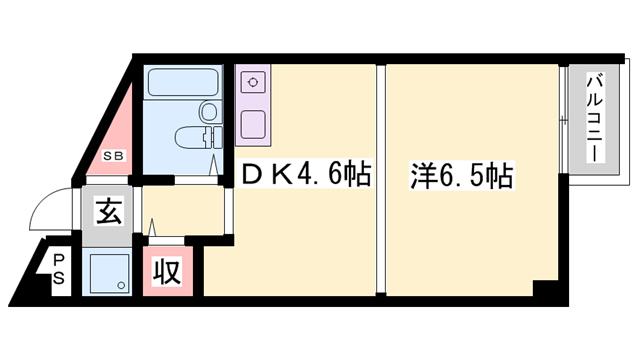 物件番号: 1119477529  加古川市加古川町溝之口 1DK マンション 間取り図