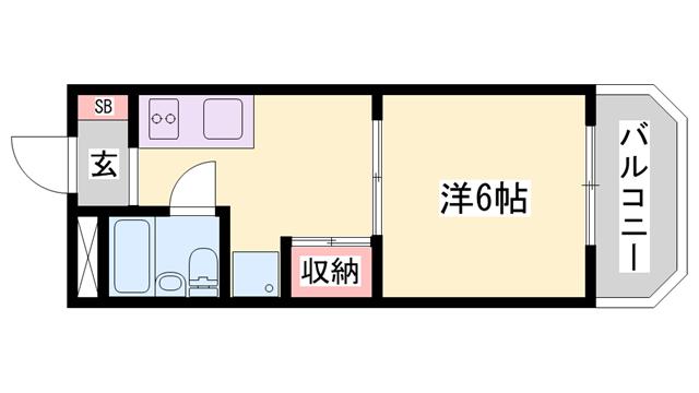 物件番号: 1119477540  姫路市広畑区西夢前台5丁目 1K ハイツ 間取り図
