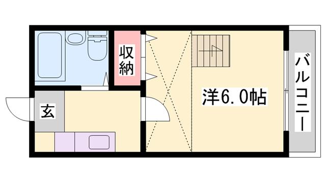 物件番号: 1119477636  姫路市西八代町 1K ハイツ 間取り図