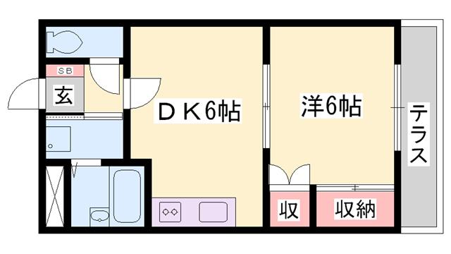 物件番号: 1119477821  姫路市御立東1丁目 1DK ハイツ 間取り図