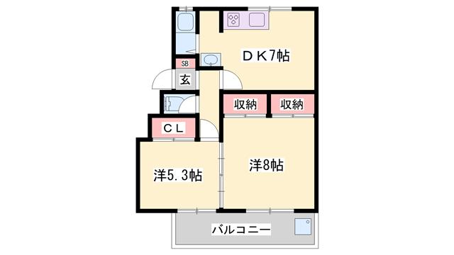 物件番号: 1119477958  加古川市野口町野口 2DK マンション 間取り図