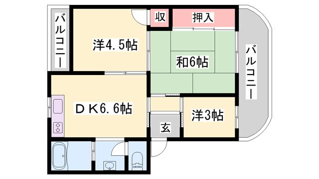 物件番号: 1119478070  加古川市米田町平津 3DK マンション 間取り図