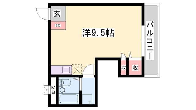 物件番号: 1119478230  たつの市龍野町日山 1R ハイツ 間取り図