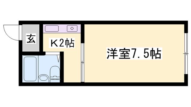 物件番号: 1119478250  姫路市八代本町1丁目 1K ハイツ 間取り図