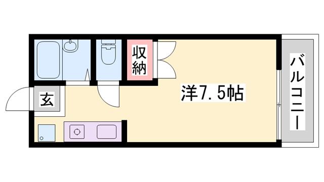 物件番号: 1119478252  姫路市玉手1丁目 1R ハイツ 間取り図