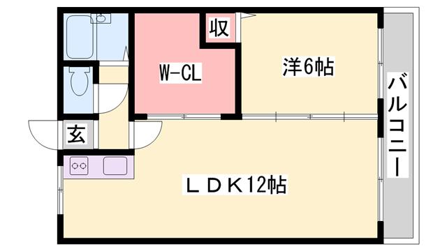 物件番号: 1119478358  姫路市白浜町 1LDK マンション 間取り図