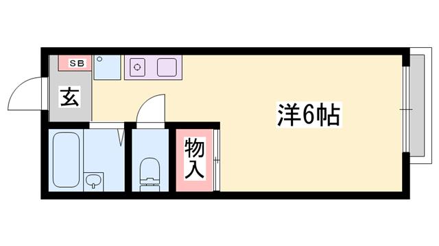 物件番号: 1119478725  姫路市飾磨区城南町2丁目 1K ハイツ 間取り図