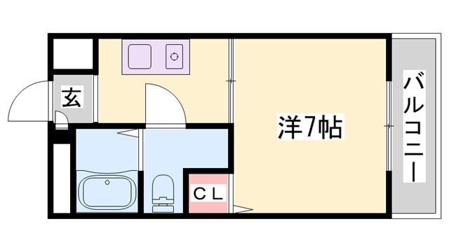 物件番号: 1119478745  神崎郡福崎町高橋 1K マンション 間取り図