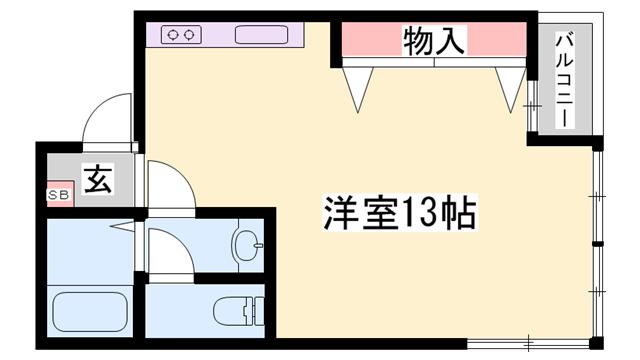 物件番号: 1119478771  姫路市南新在家 1R マンション 間取り図
