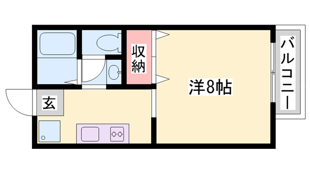 物件番号: 1119478794  姫路市田寺東2丁目 1K ハイツ 間取り図