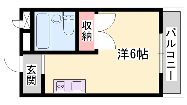 物件番号: 1119478829  姫路市書写 1R ハイツ 間取り図
